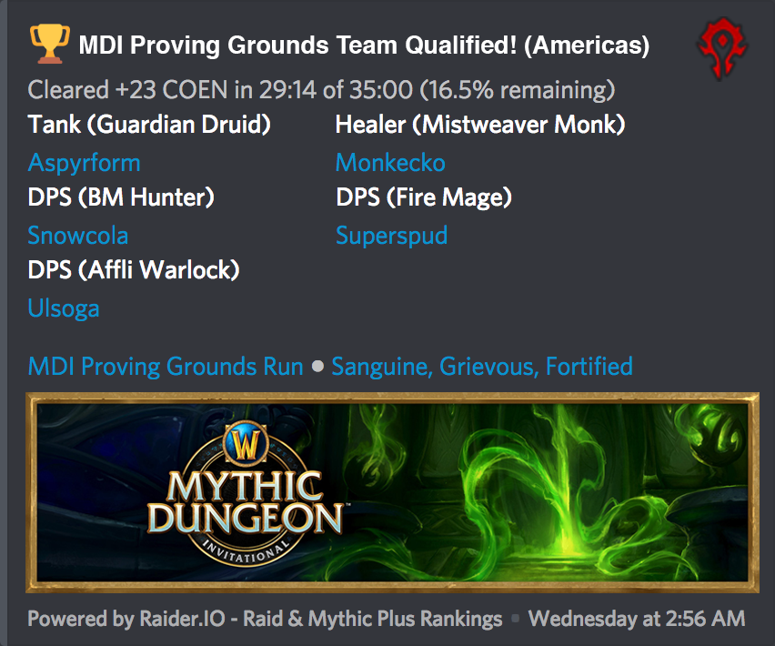 Mythic Dungeon Invitational Proving Grounds Begins