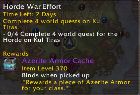 Azerite Armor from Emissaries Now Scale Up To 370 Item Level