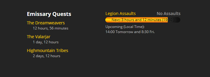 Legion World Quest Timers and Invasions - Back to the Site