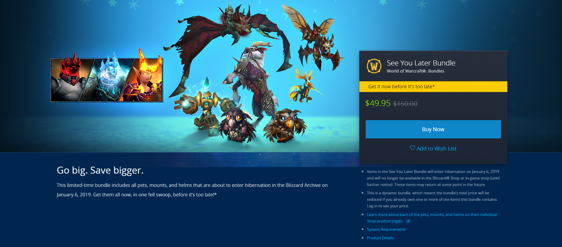 Blizzard To Retire Select Shop Mounts, Pets, and Helms - See You