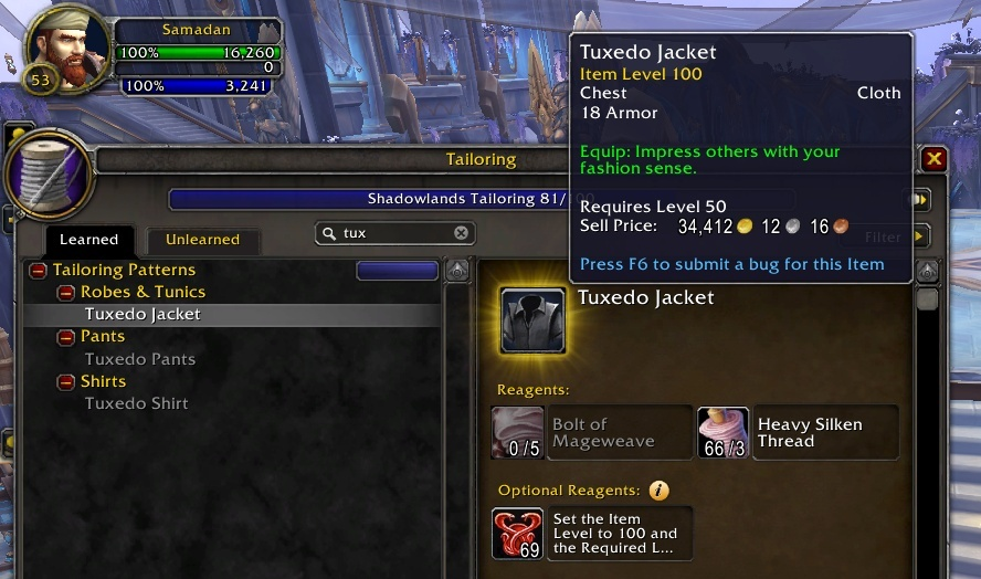 Vendor Flipping Issues With Shadowlands Relics Of The Past Items Tuxedo Jacket Sells For 34k Gold Wowhead News