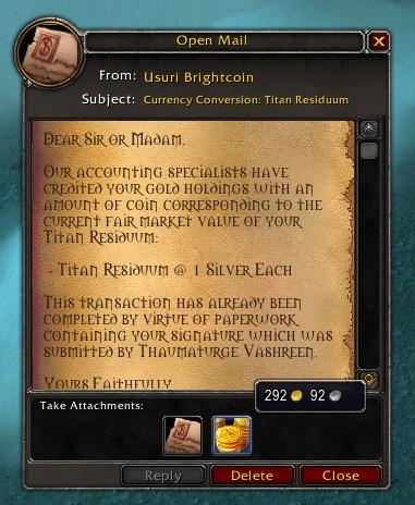Пыль титанов может превратиться в золото в препатче Shadowlands