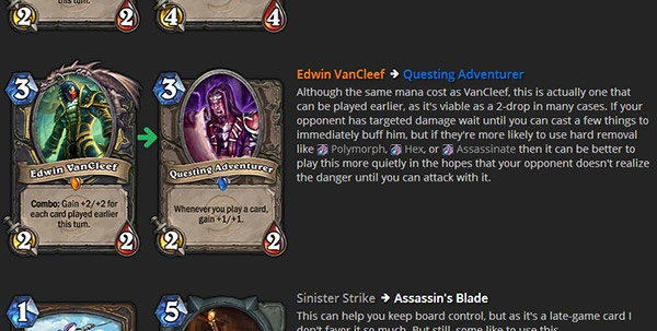 Card Substitutions in Decks on Hearthhead (Hearthstone)