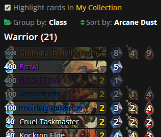 Highlight Cards in your Collection in Decks