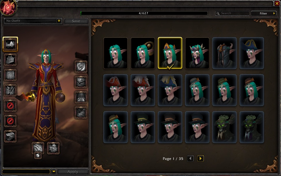 A visual appearance of the Wardrobe system seen in the Legion expansion Alpha