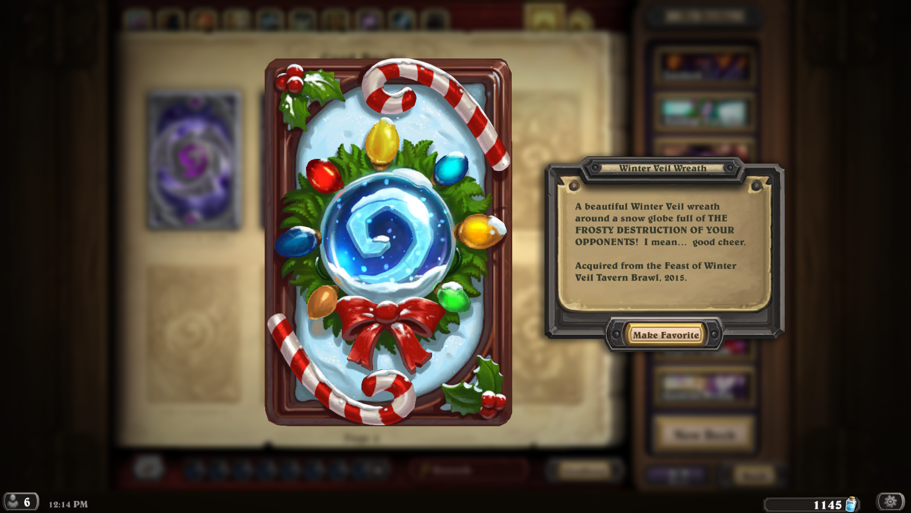 winter veil card back description