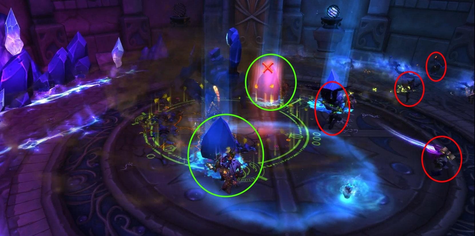 Игроки, обведенные зелеными овалами, спрятались от Ударной волны. Игроки, обведенные красными овалами, не спрятались и были отброшены к скорпидам.