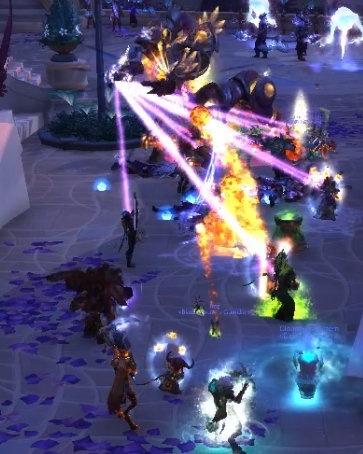 Гравитационный колодец притягивает игроков фиолетовыми лазерными лучами