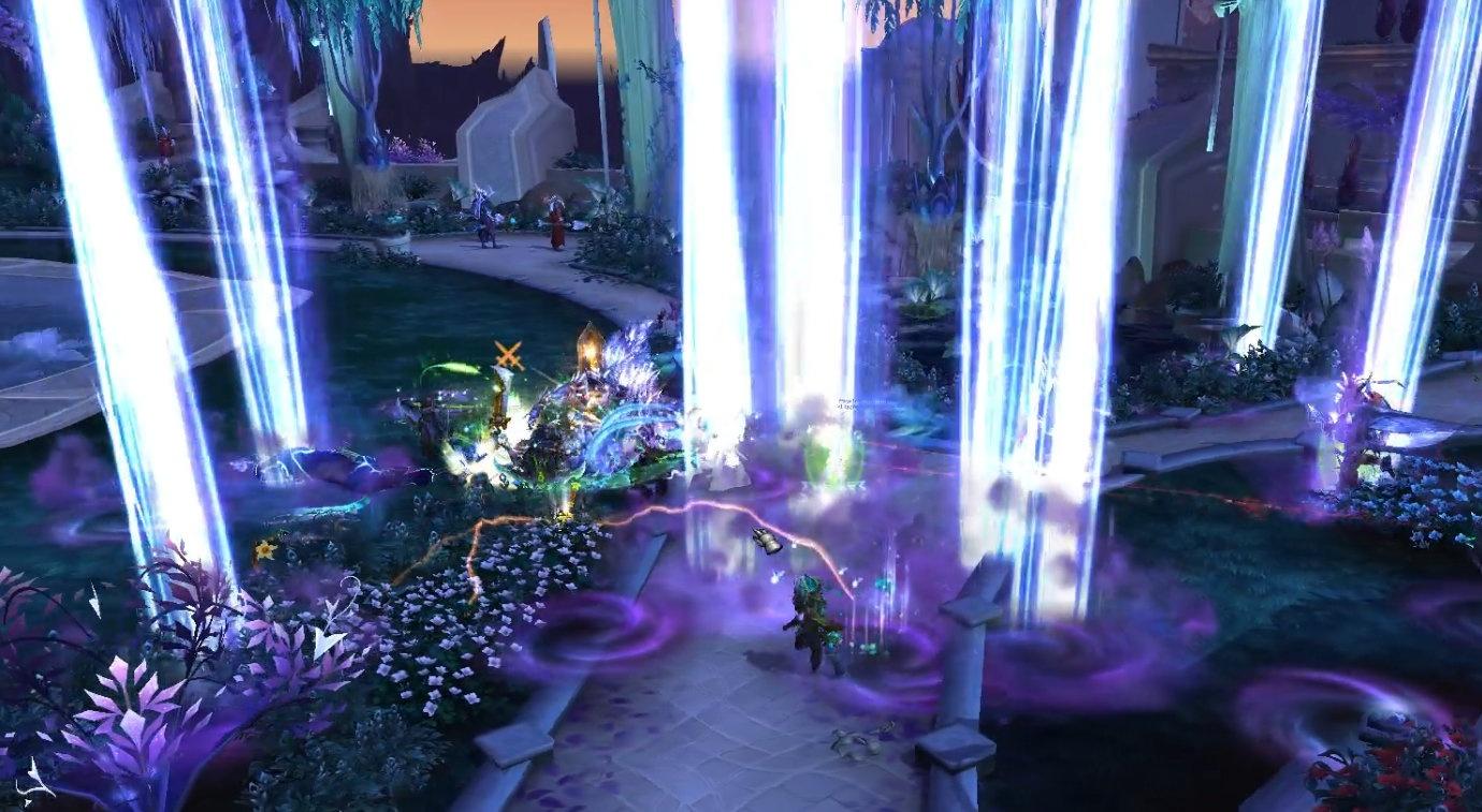 Двигайтесь, чтобы избежать столкновения с фиолетовыми завихрениями во время Столпов ночи