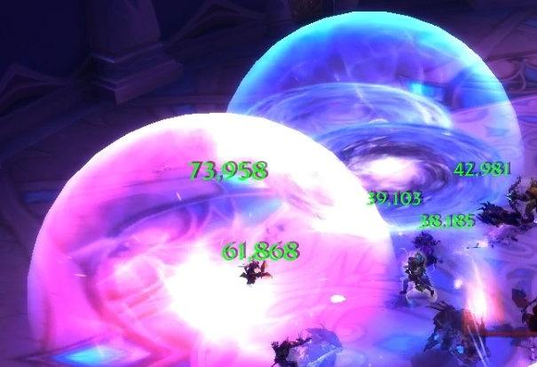 Ускорение времени (розовая зона), Замедление времени (синяя зона)