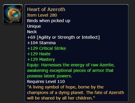 Heart of Azeroth Overview - Necklace and Essences (8 1 5
