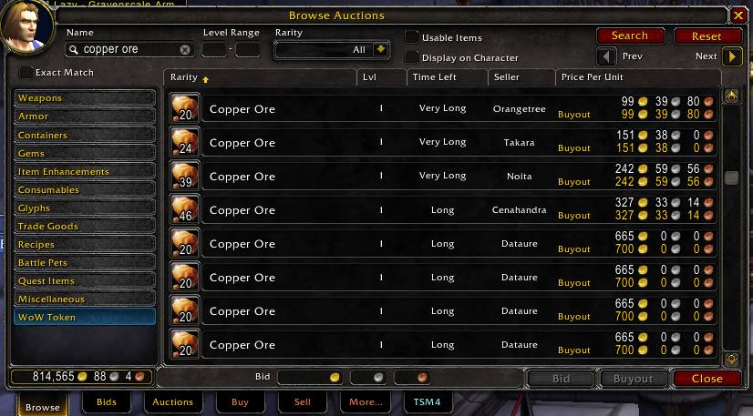 WOW Classic Auction House Prices