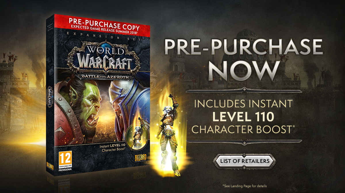 battle for azeroth pre-purchase box at select european retailers