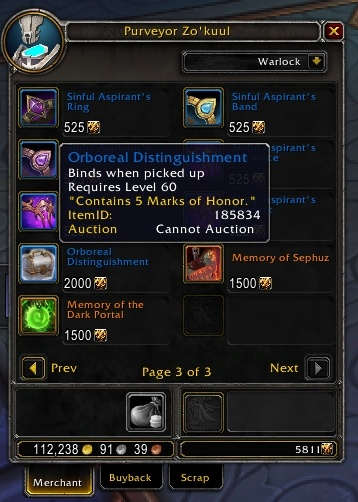 Purchase 5 Marks Of Honor For 2000 Honor In Oribos - Wowhead News