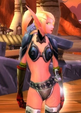 A Blood Elf female demonstrating unrealistic female armour