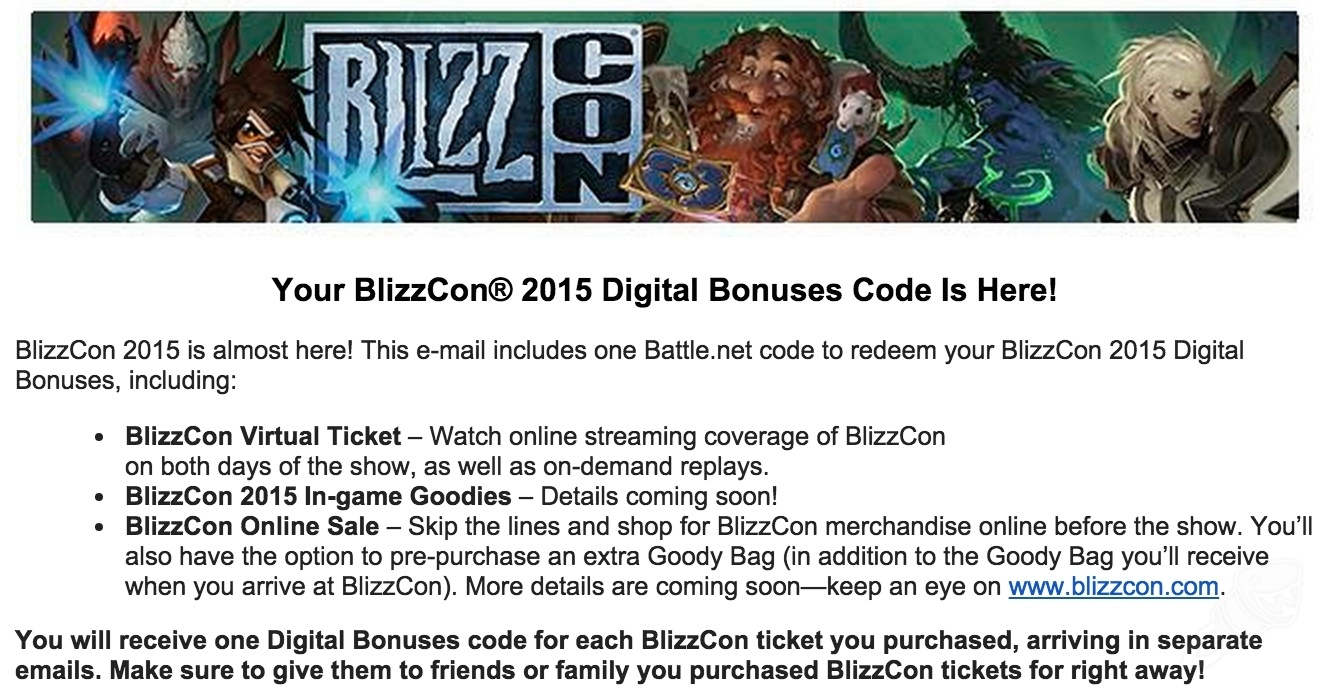 BlizzCon Digital Bonus Codes Emailed, Goody Bags Pre-Purchase