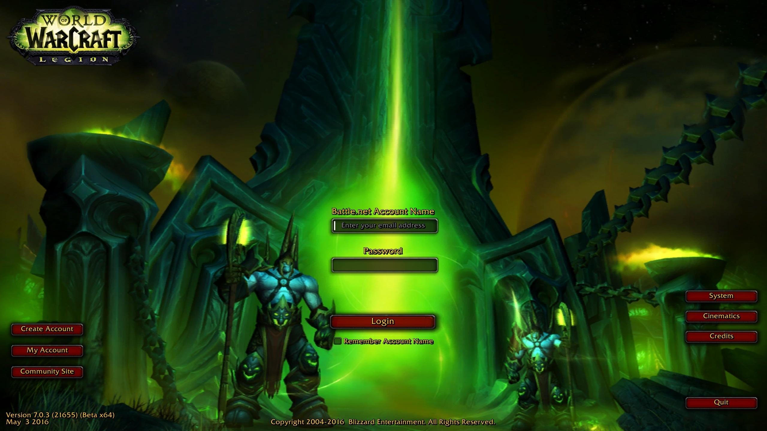 New Legion Login Screen Wow
