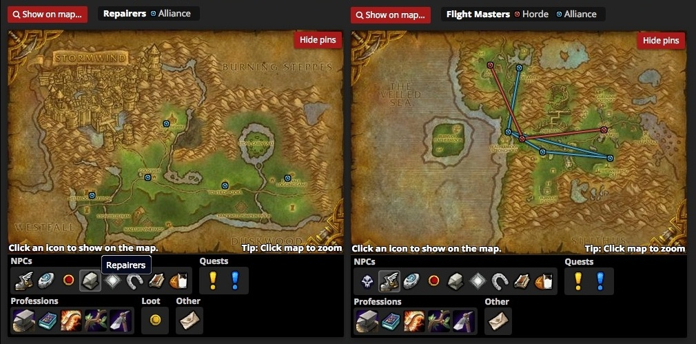 New player guide what is a zone guides wowhead for example you can click on the winged boot to bring up all the flight paths in a zone or the hearthstone to bring up the locations for all of the inns gumiabroncs Images