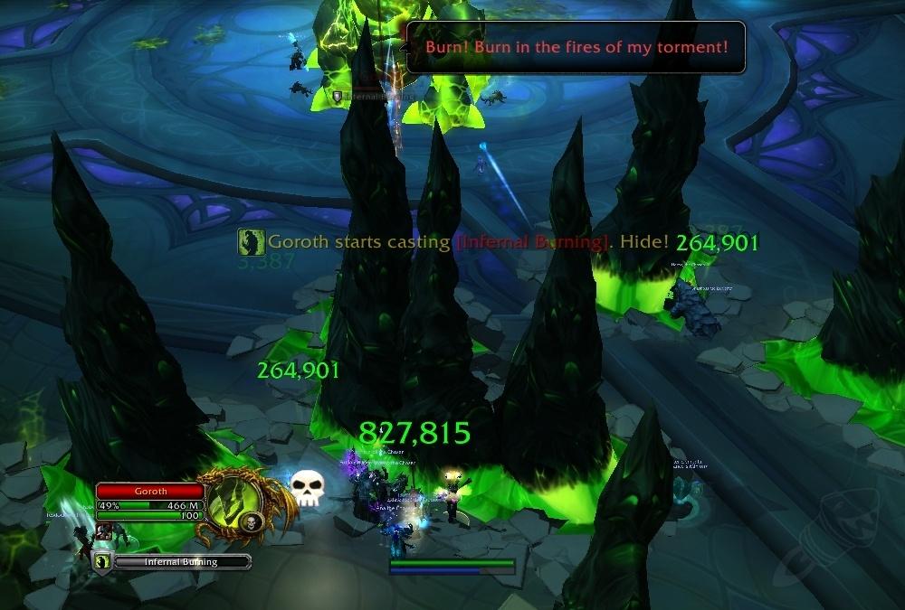 Игроки должны спрятаться от Горота до того, как закончится чтениеИнфернальное пламя.