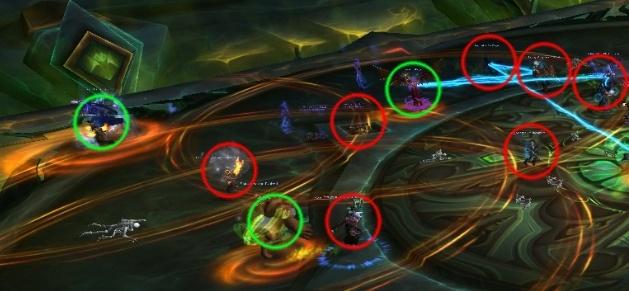 Игроки с Взрывное пламя ужаса, обведенные на картинке зелеными кругами, должны отбегать от рейда. Игроки, обведенные красными кругами, не должны стоять в красных кольцах.