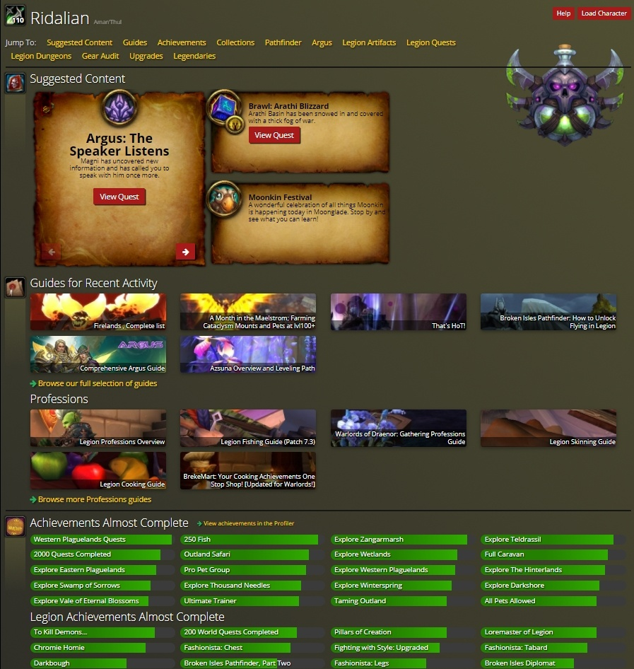 Character Planner and Pathfinder Guide Not Loading - Wowhead