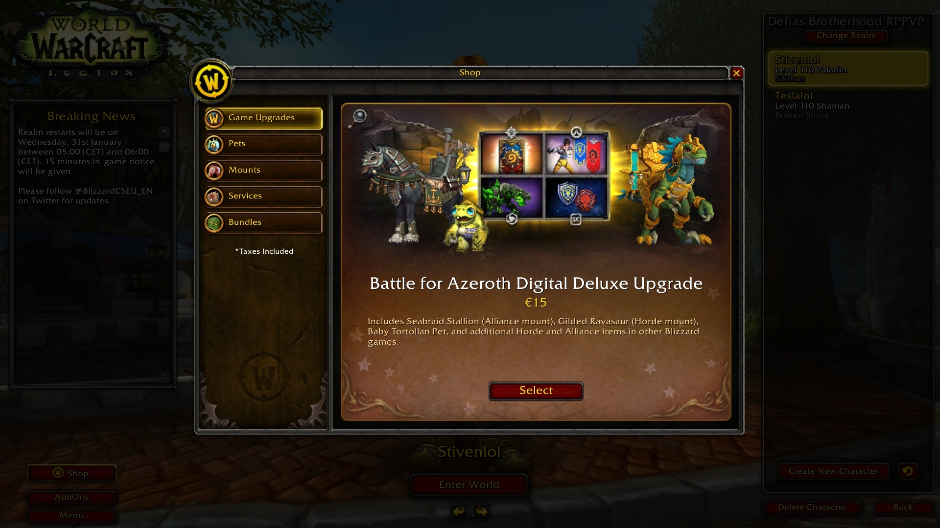 New item added to world of warcraft: legion digital deluxe bonuses.