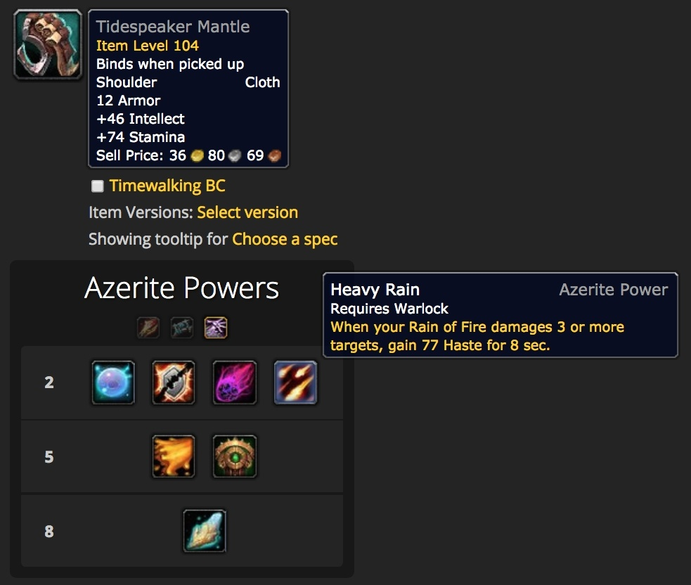 Azerite Calculators and Powers Updated for Battle for