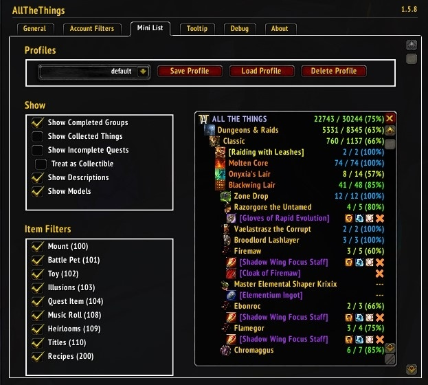 ff015c13bb9e ALL THE THINGS - Collection Tracking Addon - Guides - Wowhead