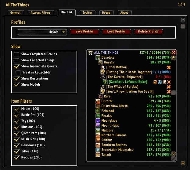 ALL THE THINGS - Collection Tracking Addon - Guides - Wowhead