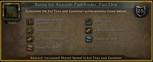 New Battle for Azeroth Pathfinder Requirement - War Campaign