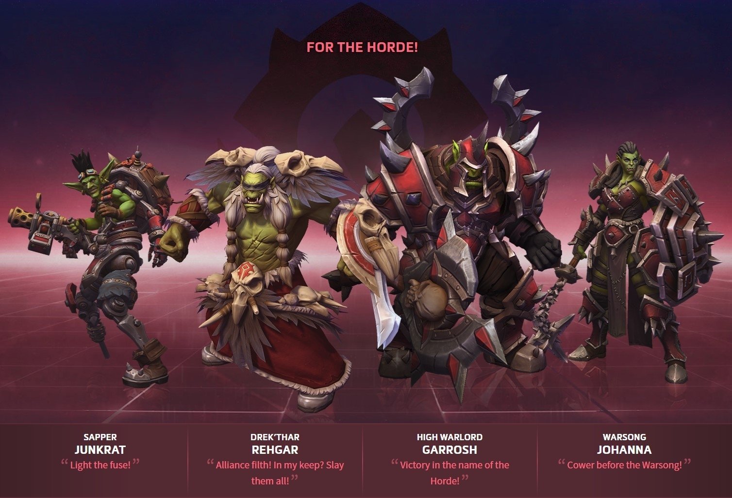 Echoes Of Alterac For The Horde Alliance Hero Bundle Giveaway Contest Wowhead This list of matchups for junkrat is generated from votes submitted by the player community. the horde alliance hero bundle giveaway