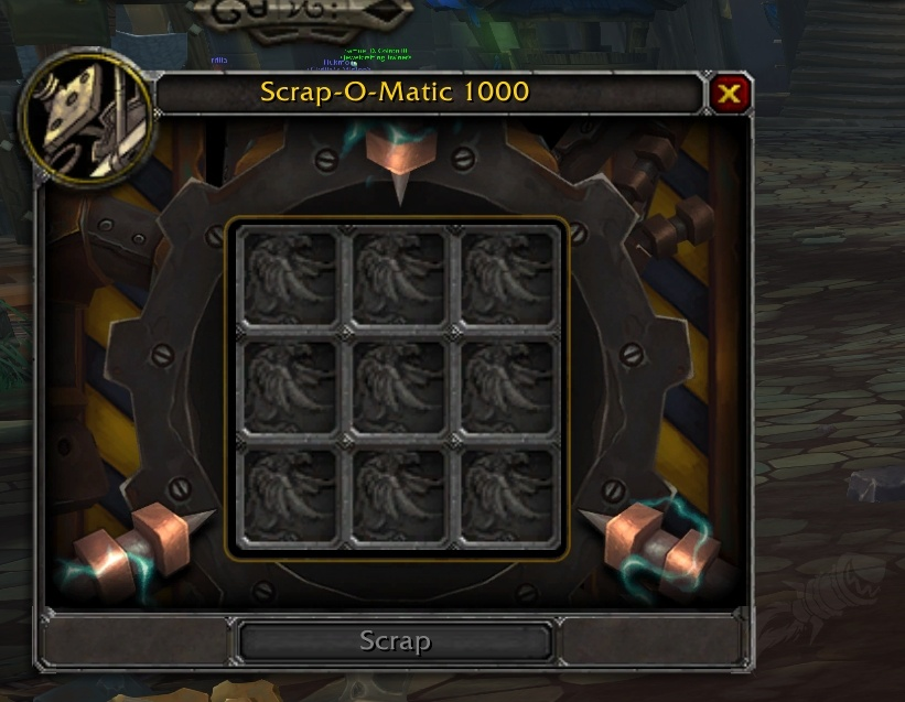 New Scrapper UI on BFA Beta - Source for Profession Reagents and