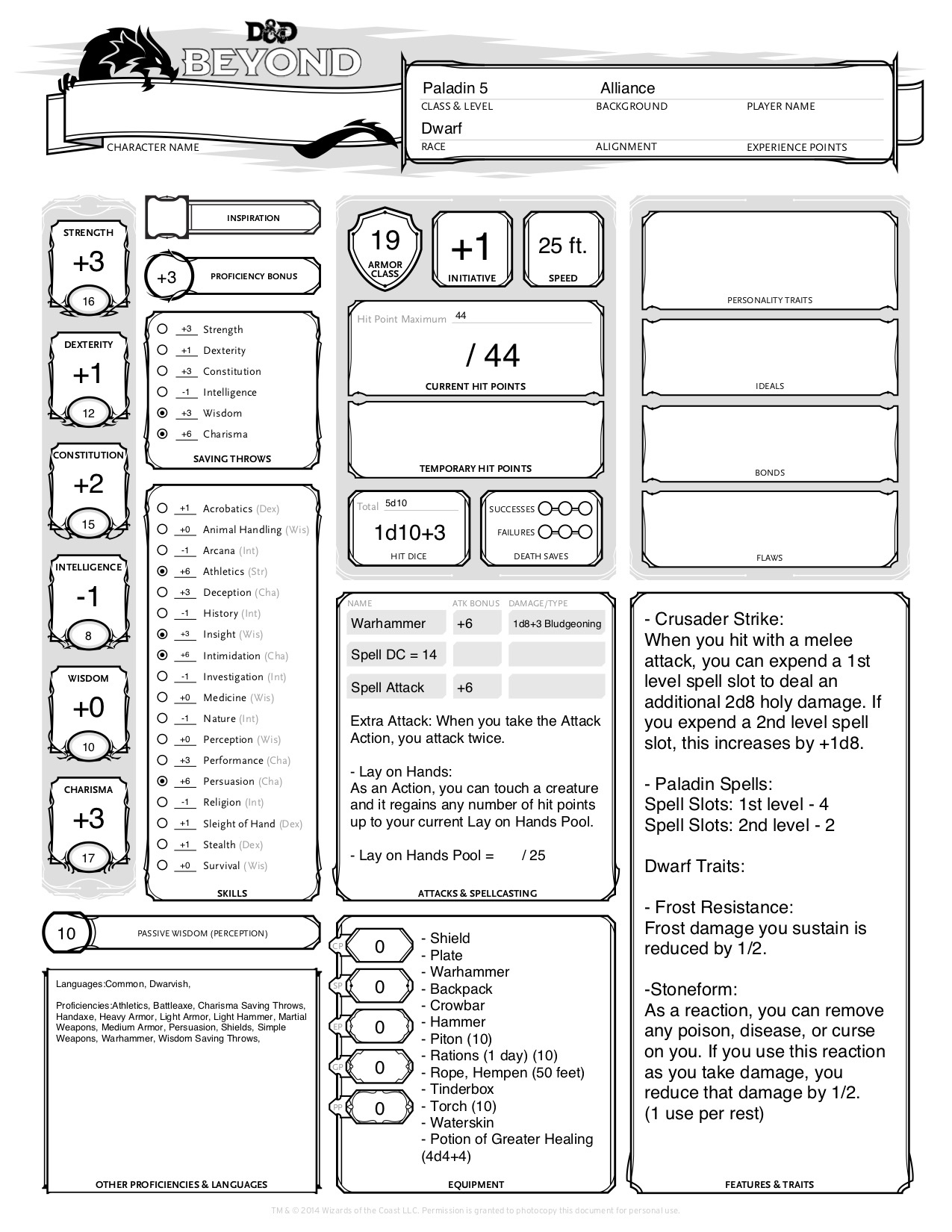 photo relating to Dungeons and Dragons Printable Character Sheet referred to as Matthew Mercers DD Persona Sheets for WoW Cles