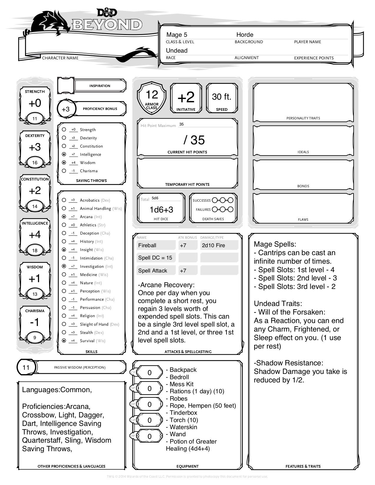 Matthew Mercer's D&D Character Sheets for WoW Classes - Wowhead News