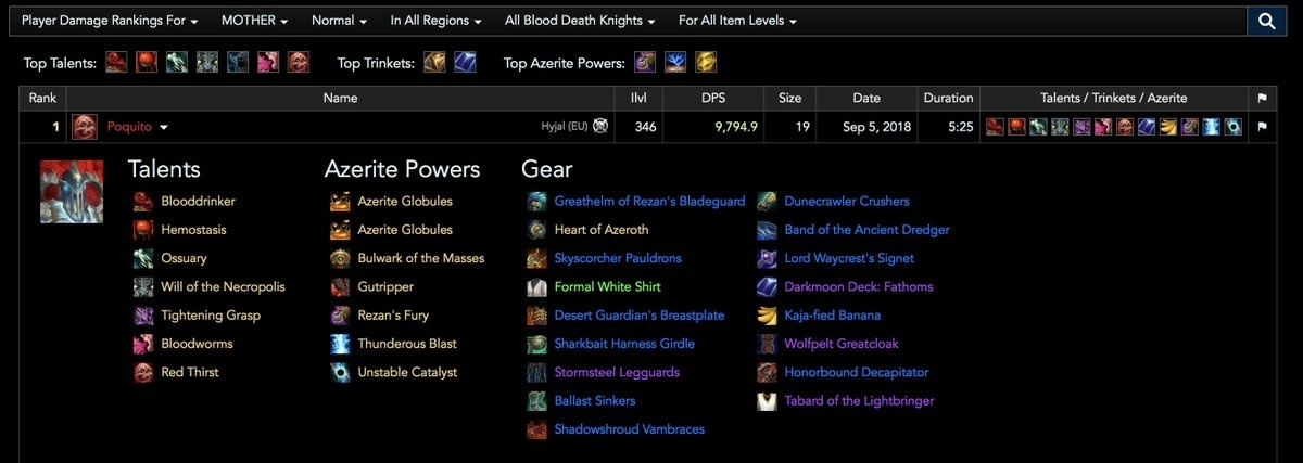 Warcraft Logs in BFA: New Features, New Guide, and Talent