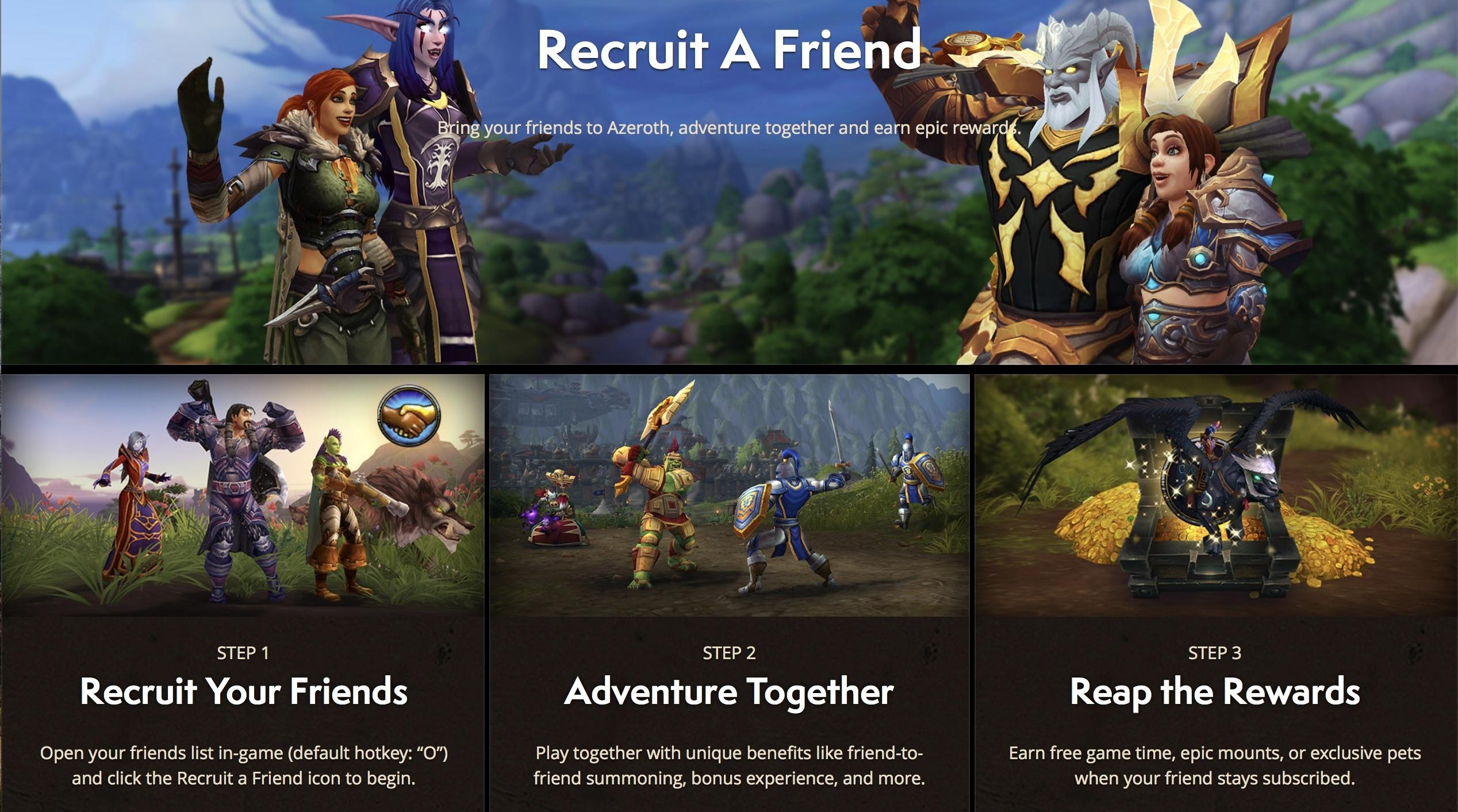 Recruit A Friend Homepage Revamp - Wowhead News