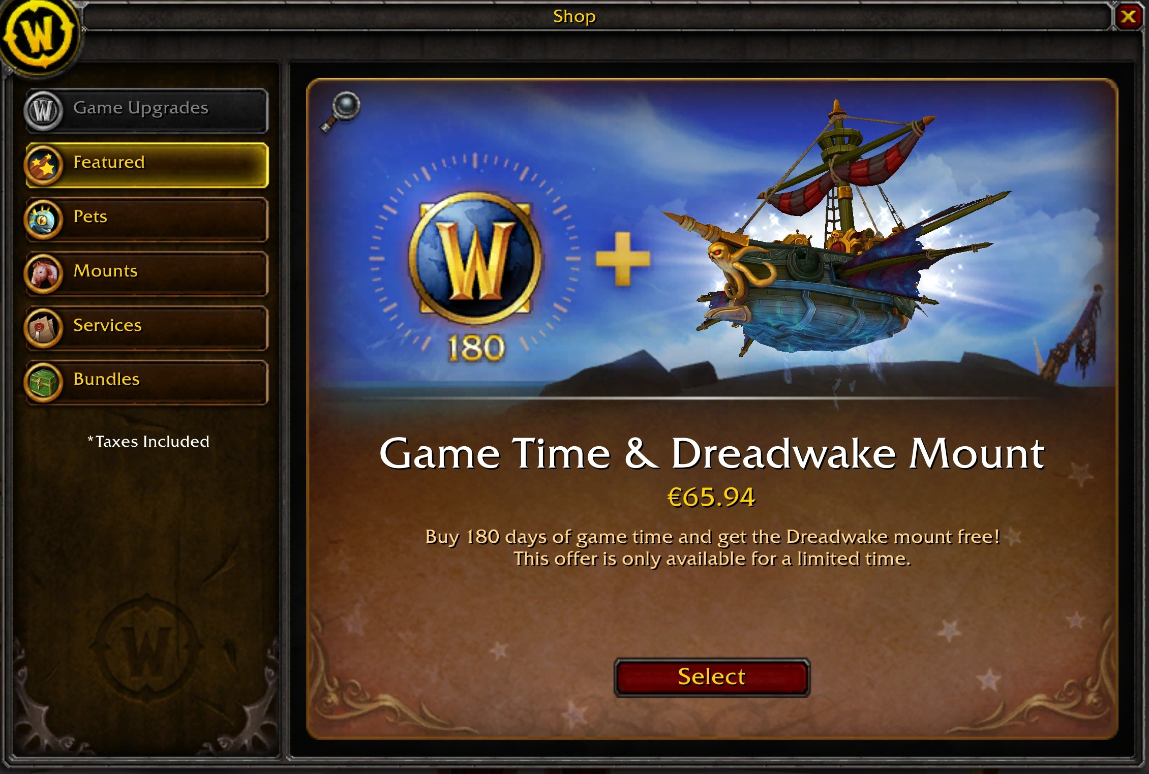 Blizzard Shop: 180 Days of Game Time + Dreadwake Mount, Cap