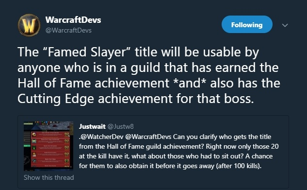 blizzard clarification on how famed slayer titles from mythic