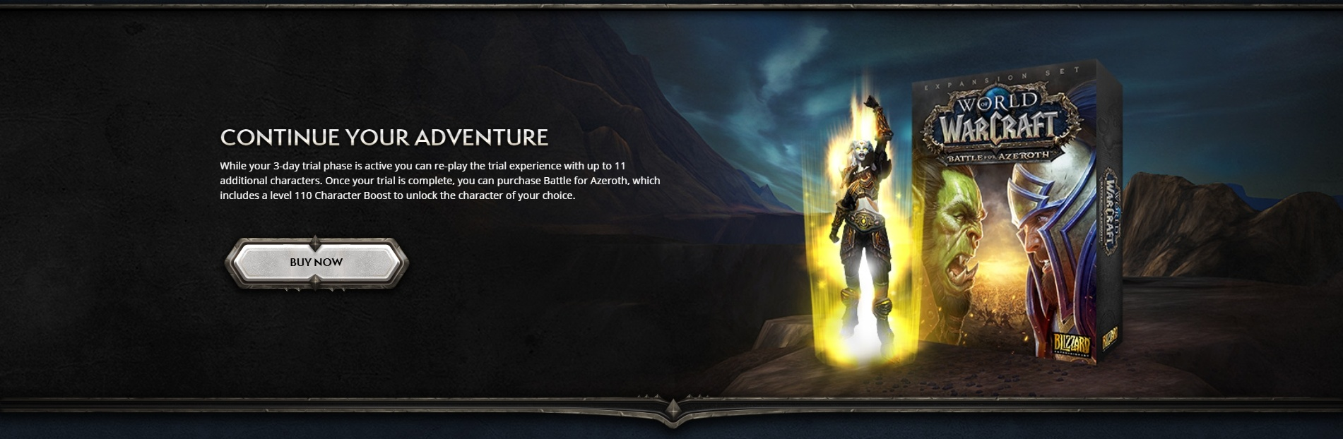 Test Battle for Azeroth for 3 Days - Promotion for Select