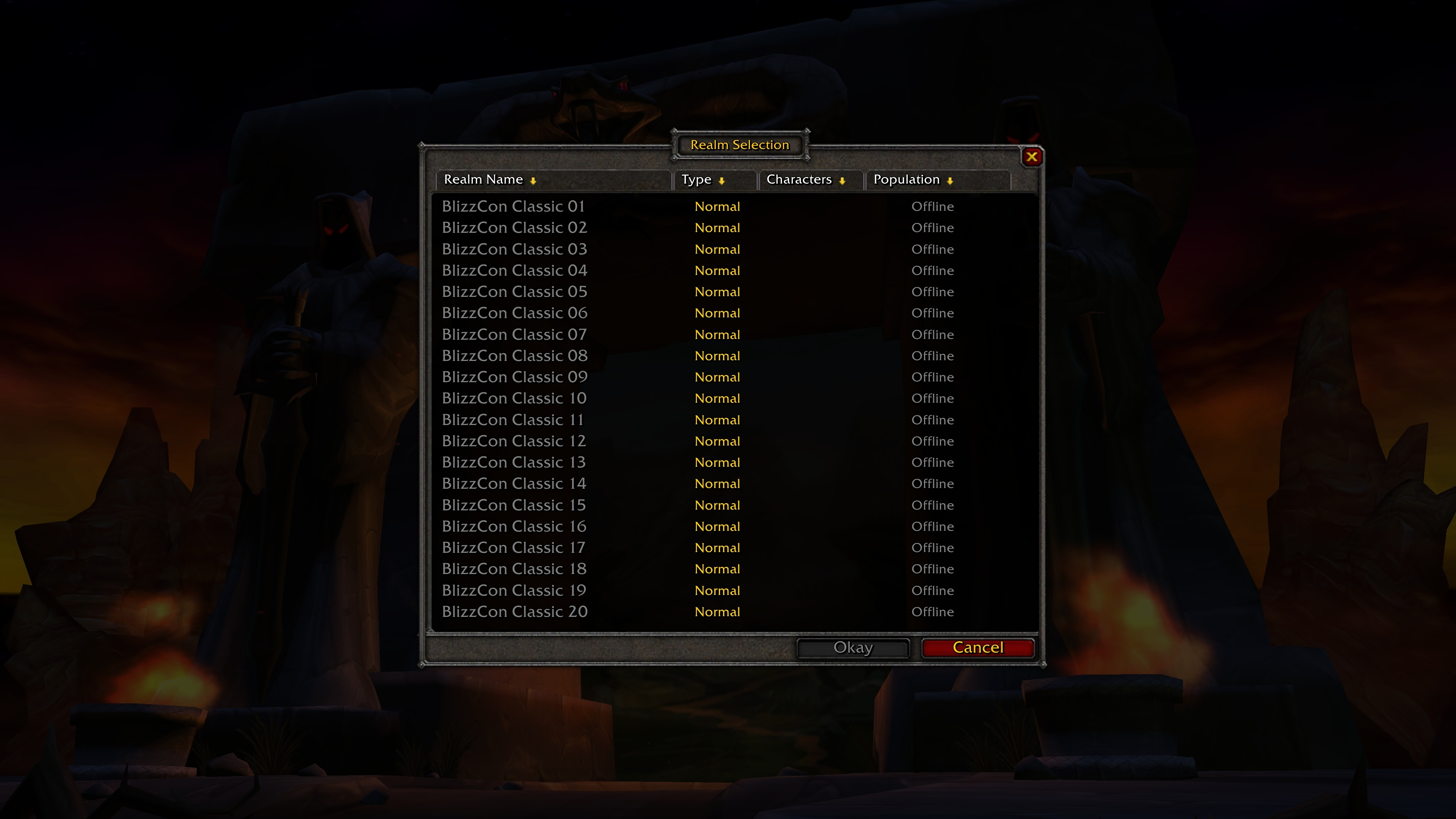 20 servers will be available for the BlizzCon Classic Demo : wow
