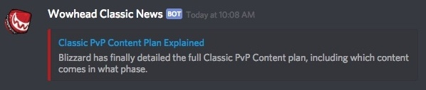 Classic WoW News Discord Webhook - New Site Feature