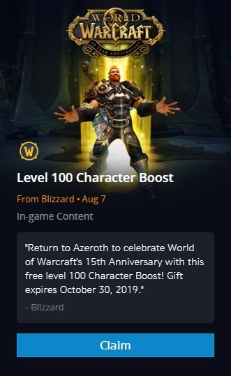WoW 15th Anniversary Returning Gift - Free Level 100 Character Boost